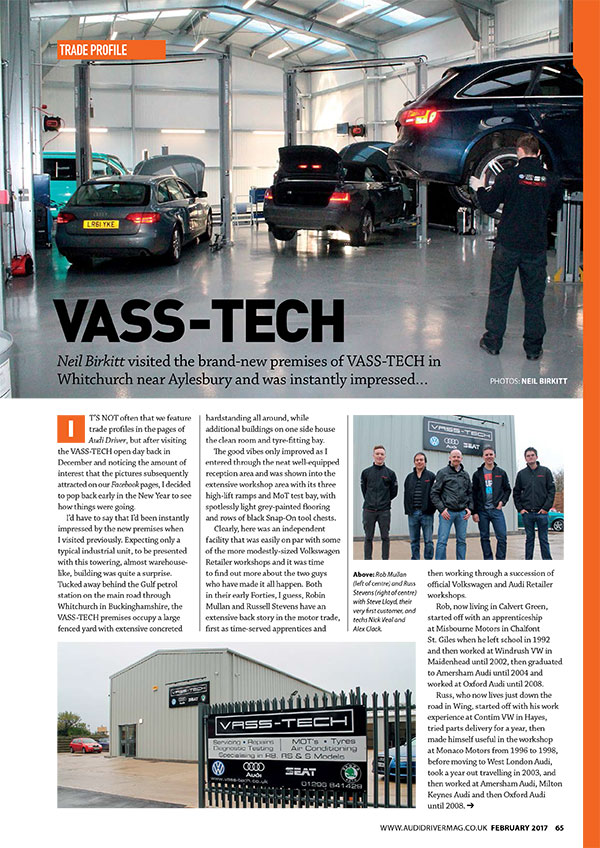 Vass-tech featured in feb 2017 audi driver magazine